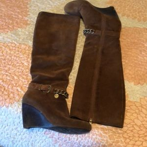 BCBG suede wedge knee high boots